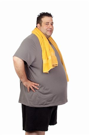 fat man exercising - Fat man playing sport isolated on a white background Stock Photo - Budget Royalty-Free & Subscription, Code: 400-06140004