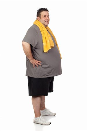 fat man exercising - Fat man playing sport isolated on a white background Stock Photo - Budget Royalty-Free & Subscription, Code: 400-06140005