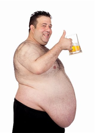 Fat man drinking a jar of beer isolated on white background Stock Photo - Budget Royalty-Free & Subscription, Code: 400-06140009