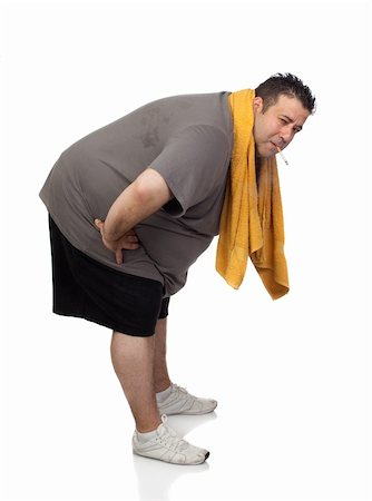 fat man exercising - Fat man playing sport and smoking isolated on a white background Stock Photo - Budget Royalty-Free & Subscription, Code: 400-06140016