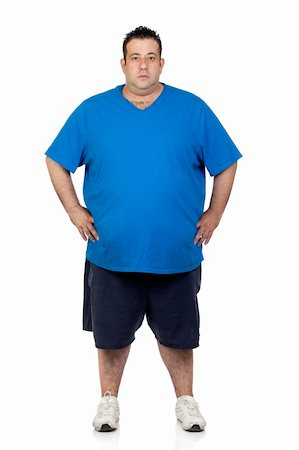 fat man exercising - Seriously fat man isolated on white background Stock Photo - Budget Royalty-Free & Subscription, Code: 400-06140375