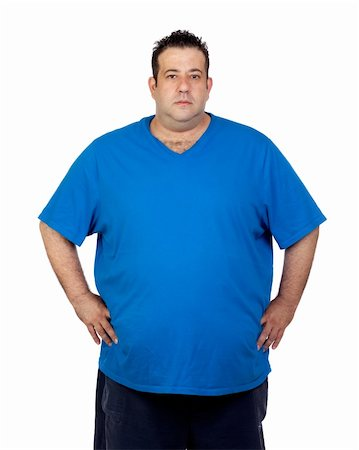 fat man exercising - Seriously fat man isolated on white background Stock Photo - Budget Royalty-Free & Subscription, Code: 400-06140378