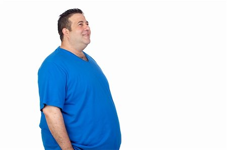 Happy fat man isolated on white background Stock Photo - Budget Royalty-Free & Subscription, Code: 400-06140379
