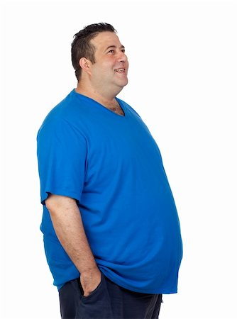 Happy fat man isolated on white background Stock Photo - Budget Royalty-Free & Subscription, Code: 400-06140380