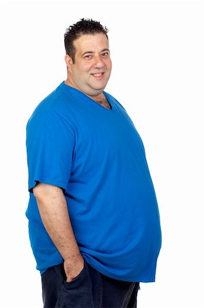 Happy fat man isolated on white background Stock Photo - Budget Royalty-Free & Subscription, Code: 400-06140381