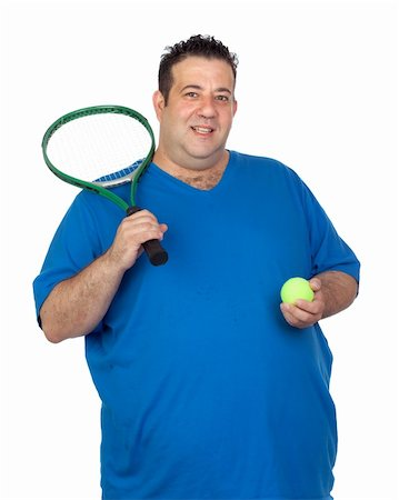 fat man balls - Fat man with a racket for play tennis isolated on white background Stock Photo - Budget Royalty-Free & Subscription, Code: 400-06140382