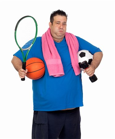 fat man balls - Fat man busy with many sports isolated on white background Stock Photo - Budget Royalty-Free & Subscription, Code: 400-06140383