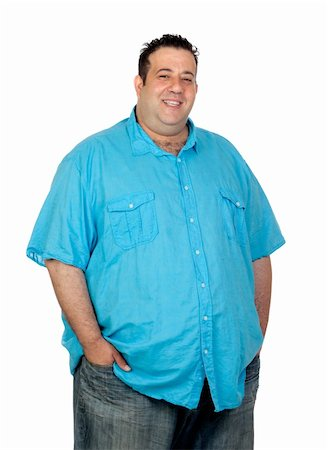 Happy fat man with blue shirt isolated on white background Stock Photo - Budget Royalty-Free & Subscription, Code: 400-06140396