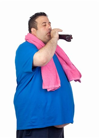 fat man exercising - Fat man in the gym drinking cola isolated on a white background Stock Photo - Budget Royalty-Free & Subscription, Code: 400-06140390