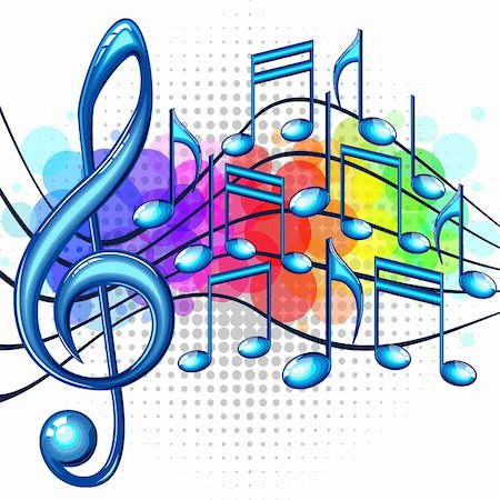 Blue glossy music notes on a rainbow background, vector illustration Stock Photo - Budget Royalty-Free & Subscription, Code: 400-06140770