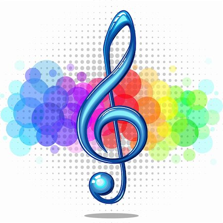 elakwasniewski (artist) - Blue glossy violin music key on a rainbow background, vector illustration Stock Photo - Budget Royalty-Free & Subscription, Code: 400-06141075