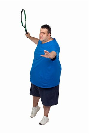 fat man exercising - Fat man with a racket playing tennis isolated on white background Stock Photo - Budget Royalty-Free & Subscription, Code: 400-06141614