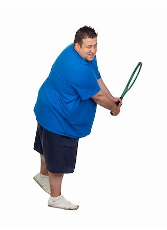 fat man exercising - Fat man with a racket playing tennis isolated on white background Stock Photo - Budget Royalty-Free & Subscription, Code: 400-06141615