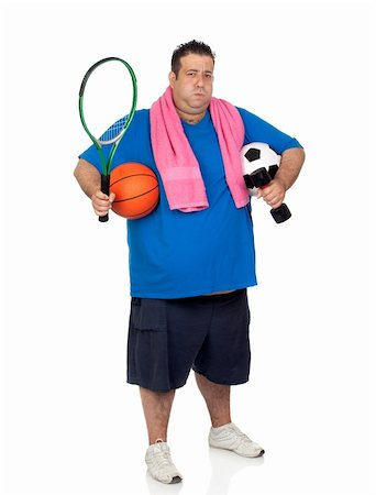 fat man exercising - Fat man busy with many sports isolated on white background Stock Photo - Budget Royalty-Free & Subscription, Code: 400-06141616