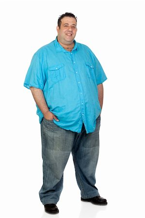Happy fat man with blue shirt isolated on white background Stock Photo - Budget Royalty-Free & Subscription, Code: 400-06141619