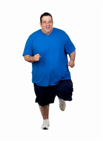 fat man exercising - Fat man running isolated on white background Stock Photo - Budget Royalty-Free & Subscription, Code: 400-06141610