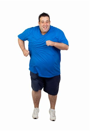 fat man exercising - Fat man running isolated on white background Stock Photo - Budget Royalty-Free & Subscription, Code: 400-06141611