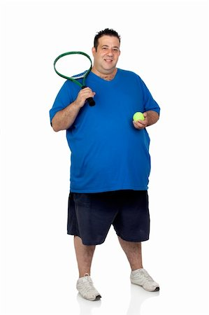 fat man exercising - Fat man with a racket for play tennis isolated on white background Stock Photo - Budget Royalty-Free & Subscription, Code: 400-06141612