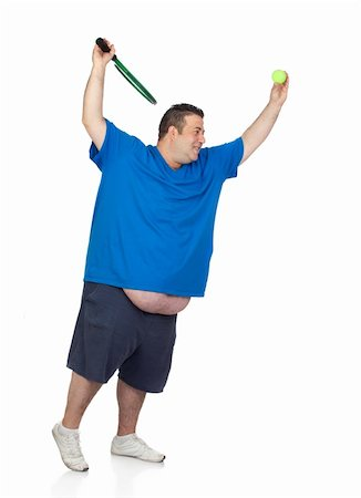 fat man exercising - Fat man with a racket playing tennis isolated on white background Stock Photo - Budget Royalty-Free & Subscription, Code: 400-06141613