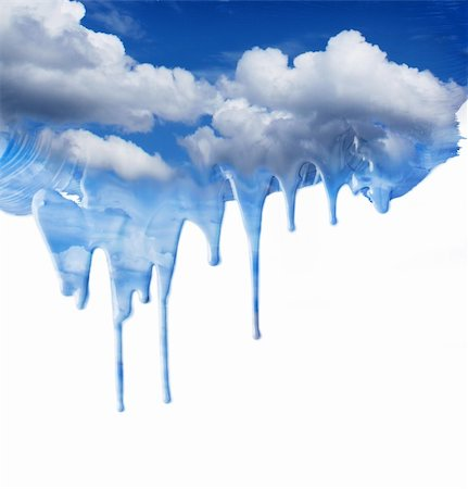 spot paint - Painted blue sky dripping paint clouds fantasy background Stock Photo - Budget Royalty-Free & Subscription, Code: 400-06141696