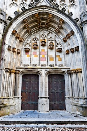 Detail of  Portal of the Gothic Church St.Hubert in Belgium Stock Photo - Budget Royalty-Free & Subscription, Code: 400-06141976
