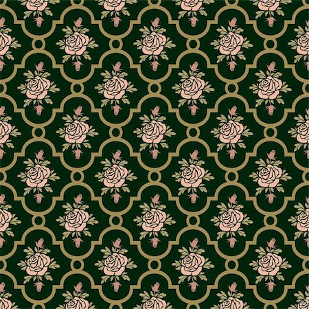 elakwasniewski (artist) - Vector roses seamless pattern on green, repeating design, full scalable vector graphic for easy editing and color change, included Eps v8 and 300 dpi JPG Stock Photo - Budget Royalty-Free & Subscription, Code: 400-06142272