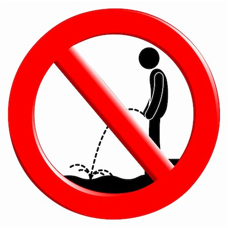 The sign for the ban urinating in the water. Stock Photo - Budget Royalty-Free & Subscription, Code: 400-06142982