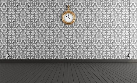 Black and white old style room with vintage clock - rendering Stock Photo - Budget Royalty-Free & Subscription, Code: 400-06143269