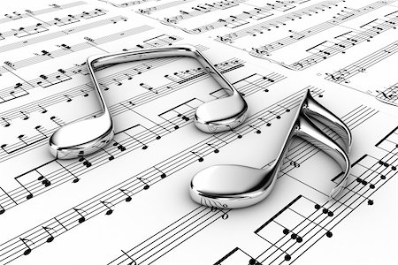 Silver musical notes on a  background written notes Stock Photo - Budget Royalty-Free & Subscription, Code: 400-06174191
