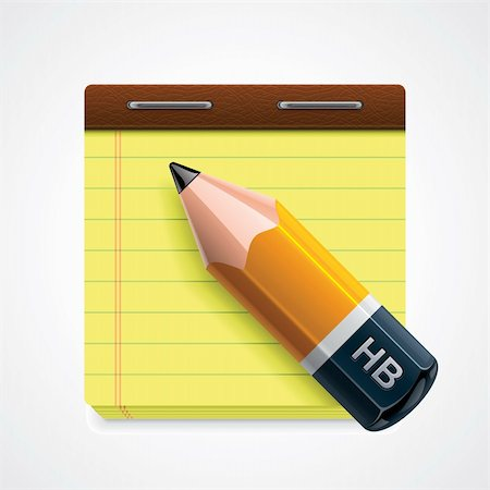 Detailed icon representing yellow pencil on notepad page Stock Photo - Budget Royalty-Free & Subscription, Code: 400-06175099