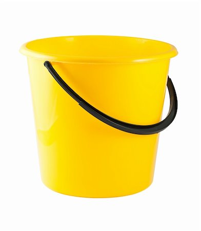 Yellow plastic bucket isolated on white background Stock Photo - Budget Royalty-Free & Subscription, Code: 400-06175199