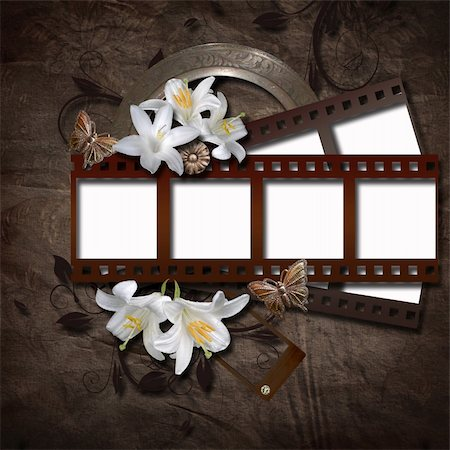 Vintage background with photo-frame and film strip Stock Photo - Budget Royalty-Free & Subscription, Code: 400-06177170