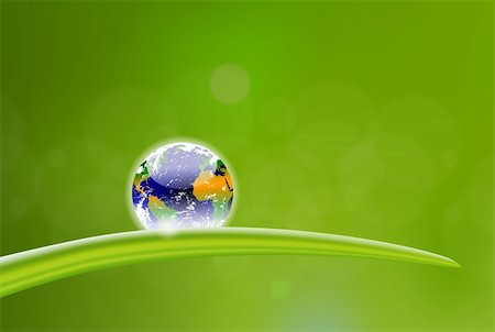 beautiful illustration of planet Earth dew drop Stock Photo - Budget Royalty-Free & Subscription, Code: 400-06177872