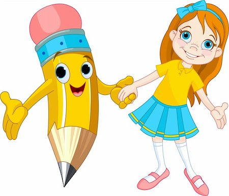 Little girl holding the hand of a giant pencil Stock Photo - Budget Royalty-Free & Subscription, Code: 400-06177955