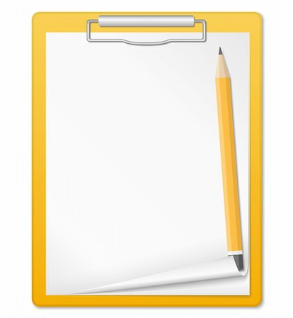 Clipboard with pencil, vector eps10 illustration Stock Photo - Budget Royalty-Free & Subscription, Code: 400-06178091