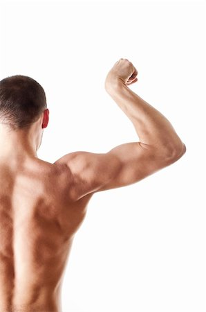 skinny man muscle pose - back view of a muscular young man showing his biceps isolated on white Stock Photo - Budget Royalty-Free & Subscription, Code: 400-06178254