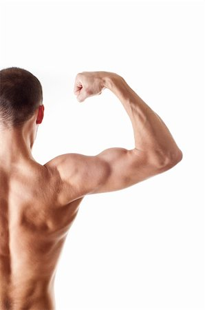 skinny man muscle pose - back view of a muscular young man showing his biceps isolated on white Stock Photo - Budget Royalty-Free & Subscription, Code: 400-06178253