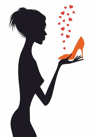 fashion woman with shoe and red hearts, vector illustration Stock Photo - Budget Royalty-Free & Subscription, Code: 400-06179159