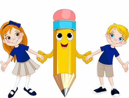 students learning cartoon - Little girl and boy holding hands of a giant pencil Stock Photo - Budget Royalty-Free & Subscription, Code: 400-06179936