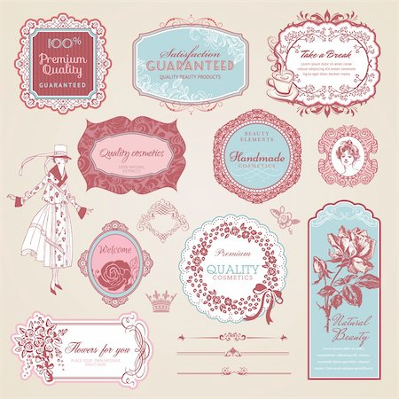 Set of vintage labels and elements for print design and web Stock Photo - Budget Royalty-Free & Subscription, Code: 400-06170567