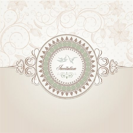 Vintage vector background template for wedding invitation card Stock Photo - Budget Royalty-Free & Subscription, Code: 400-06170572