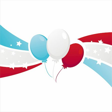 fireworks illustrations - background with american colored balloons Stock Photo - Budget Royalty-Free & Subscription, Code: 400-06170619