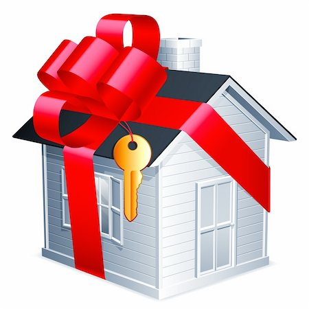 Little house with red ribbon and golden key. Stock Photo - Budget Royalty-Free & Subscription, Code: 400-06170624