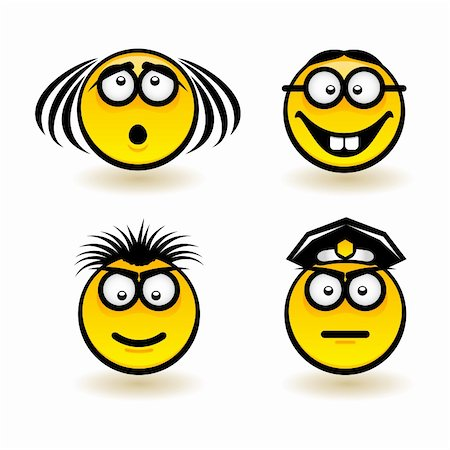 Cartoon faces. Set of second. Illustration of designer on white background Stock Photo - Budget Royalty-Free & Subscription, Code: 400-06170627