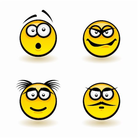 Cartoon faces. Set of third. Illustration of designer on white background Stock Photo - Budget Royalty-Free & Subscription, Code: 400-06170628
