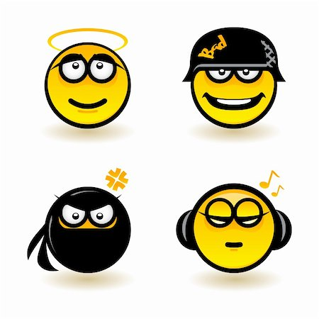 Cartoon faces. Set of four. Illustration of designer on white background Stock Photo - Budget Royalty-Free & Subscription, Code: 400-06170629