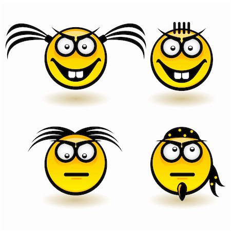 Cartoon faces. Set of first. Illustration of designer on white background Stock Photo - Budget Royalty-Free & Subscription, Code: 400-06170630
