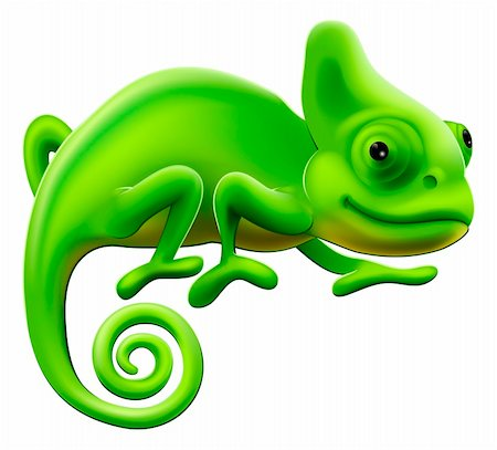 An illustration of a cute green cartoon chameleon lizard Stock Photo - Budget Royalty-Free & Subscription, Code: 400-06170757