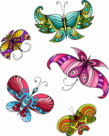 vector illustration of a butterfly set Stock Photo - Budget Royalty-Free & Subscription, Code: 400-06170767