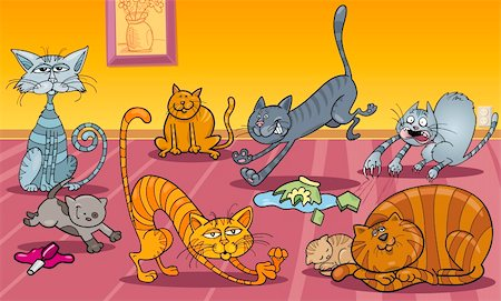 Cartoon Illustration of Many Naughty Cats at Home Stock Photo - Budget Royalty-Free & Subscription, Code: 400-06170788